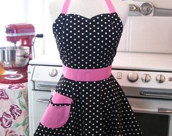 Retro Apron Polka Dot Black White Hot Pink BELLA
