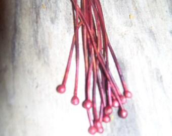 20 gauge balled headpins Patina Red
