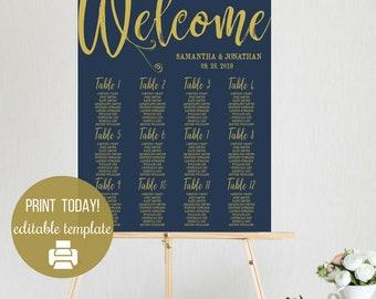 Navy and Gold Wedding Seating Chart Template Editable Wedding Sign Elegant Wedding Modern Wedding Wedding Decor #IDWS817N_40C
