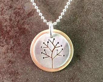 25% Off Tree Sterling Silver Bronze Hand Cut Mixed Metal Woodland Nature Necklace Pendant