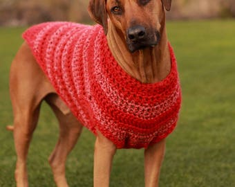 3XL Dog Sweater in Red - Odin's Red Pet Clothes - Dog Clothing - Pet Coat - Large Breed Dogs