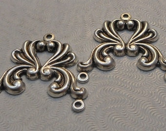 Sterling Silver Plated Brass Filigree Stampings 3-way Connectors 26x25mm (2 pcs) F-A5205-3-S