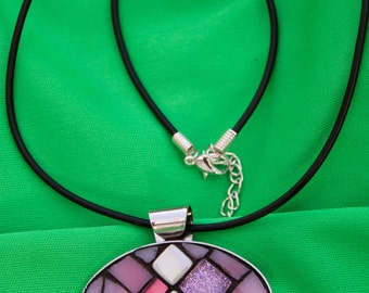 Silver plated Pendant with micro mosaic inlaid of glas in pink and purple with 3 tiny pearl colored stones.