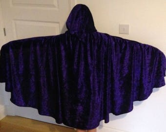 Medieval Victorian Cape hooded cloak costume crushed velvet Stretch Velour purple black adult kids teenagers