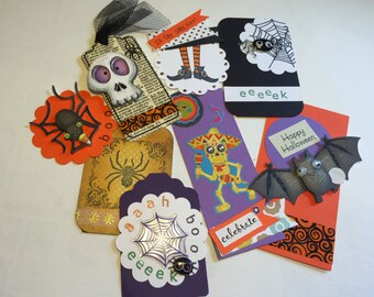 SALE: Halloween Planner Embelishment Tags Handmads Set of Eight
