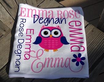Personalized Owl Baby Blanket - Owl Receiving Blanket for Girls - Custom Name Owl Baby Blanket - Newborn Swaddling Blanket - Baby Photo Prop