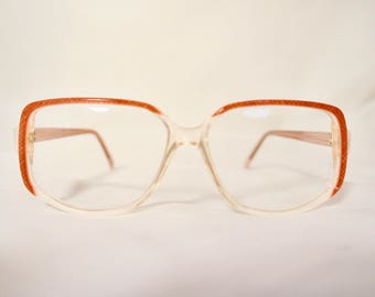 Vintage 1970s Rounded Square Eyeglass Frames in Golden Brown/Cream, New Old Stock