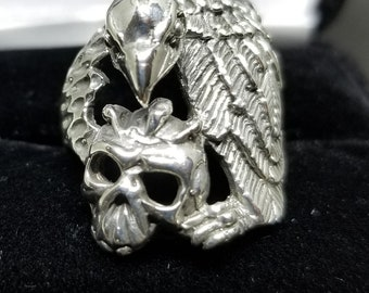 Sterling Silver Vulture and Skull Ring: Size 7.5