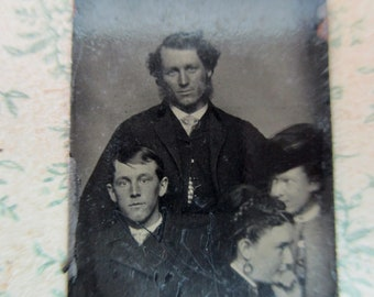 unique antique miniature gem tintype photo - 1800s, four people looking different directions