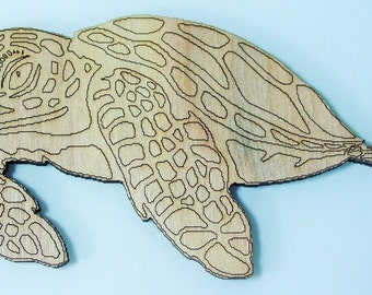 Sea Turtle Cutout ~ Laser Cut Birch Wooden Sea Turtle with Detailed etching ~