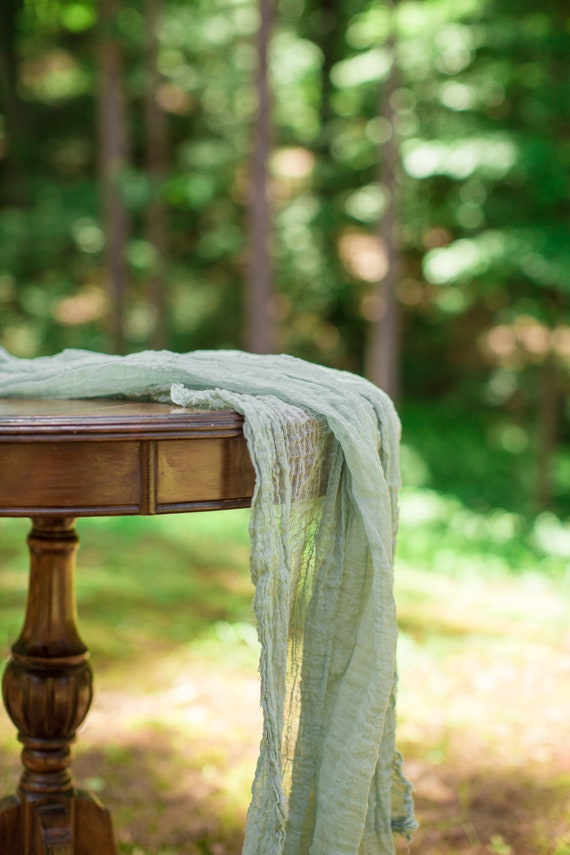 Olive Green Table Runner Gauze Runner Cheesecloth Table