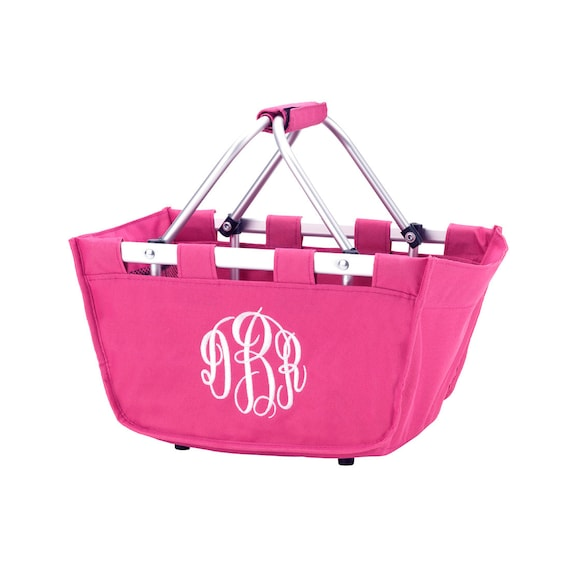 hot pink mini Market tote picnic basket tote monogram basket tote personalized tote bag tailgate tote bag college dorm shower caddy basket