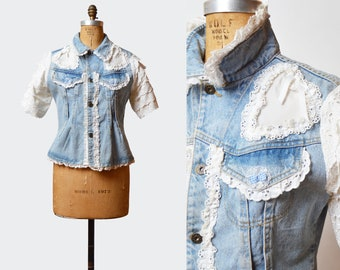 Vintage 80s HEART LACE Patchwork Jean Jacket Jean Grunge Kawaii Biker Shirt Button Up Top Vintage 1980s Short Sleeve Custom Made Blue Medium