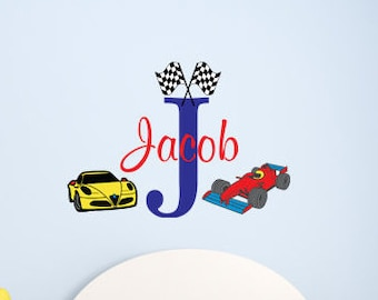 Boys Initial & name race cars and checkered flags-Personalized monogram vinyl wall decal-baby, speedway, raceing, nursery, bedroom-0153