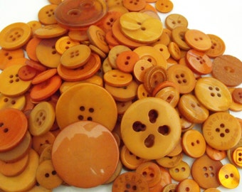 Burnt Orange Buttons, 100 Bulk Assorted Round Multi Size Crafting Sewing Buttons
