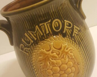 Large Rumtopf vase or jar by Scheurich West Germany in green brown yellow