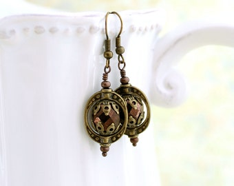Steampunk Jewelry - Copper and Brass Steampunk Earrings - Antique brass Saturn Rings with faceted czech glass beads - brass jewelry