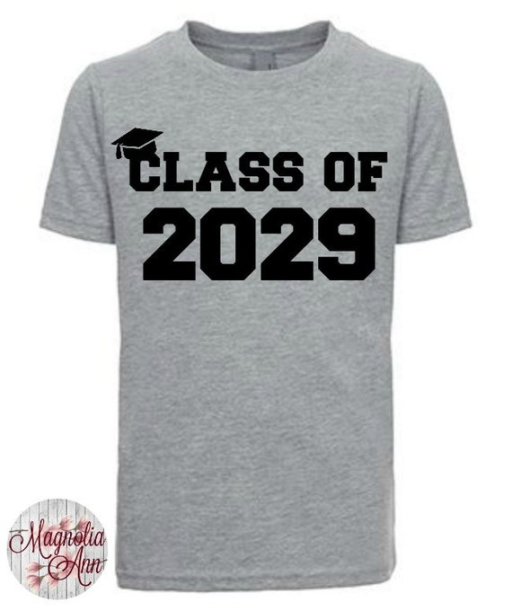 Class of 2029 (or any year) Little Boys Graphic T-Shirt in Sizes XS-XL in Black, White & Grey, Graduation, School, Kids Graphic Tees
