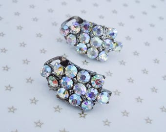 Vintage Silver Tone Clear Aurora Borealis AB Rhinestone Clip On Earrings //Mad Men// //60s//