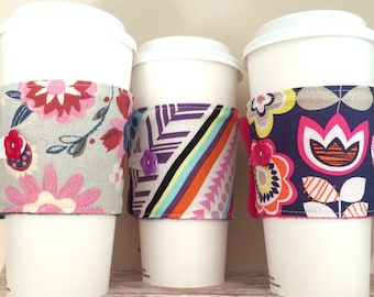 Coffee Cup Cozy, Mug Cozy, Coffee Cup Sleeve, Cup Cozy, Cup Sleeve, Reusable Coffee Sleeve - Bold Floral [31-33]