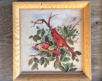 Victorian Art Red Cardinal Bird Fabric, Chinoiserie Decor Red, Antique Fabric, Victorian Home, Bird Gifts, Nature Lover Gift for Neighbor