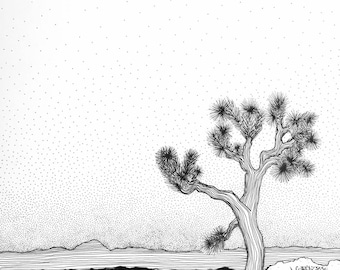 outdoor explorer, Joshua Tree, black and white art, line drawing, pen and ink, gifts for travellers, interior detail, wanderlust