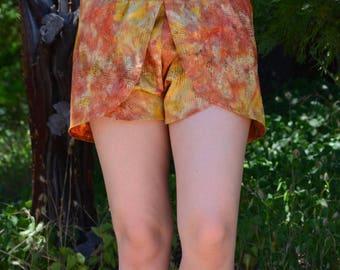 Red and Yellow Shorts / Layered Shorts / Women's Shorts / Beach Shorts / Cotton Shorts