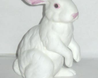 Andrea Albino Bunny Rabbit Animal Figurine White and Pink Porcelain Sitting Up