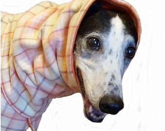 Coat for Greyhound with snood (Small) Plaid fleece, orange, yellow and white. Orange fleece lining