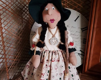Kitchen Witch-Molly, standing kitchen witch with broom-witch doll with broom and pentacle-farmhouse country kitchen decor-magic rustic decor