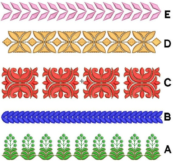 Set Of 5 Laces Machine Embroidery Designs Border Embroidery Design