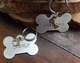 Dog Tags For Dogs, Dog ID Tag Dog, Tag, Hand Stamped Dog Tags, Medium, Large Dog ID Tag, Pet Tags, Pet ID Tags, Bone Dog Tag