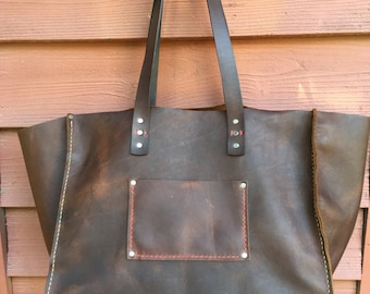 Extra Large Leather Tote* Big Leather Tote* XXX Large Leather Bag* Fat Boho Bag* Giant Leather Tote* Raleigh NC Custom Leather* Handmade