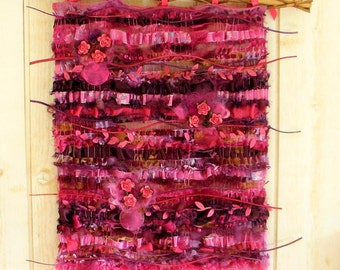 "Woven Wall hanging  tapestry, fuchsia , ""Muds of roses"" , shabby cottage home decor, weaving  and felt, bohemian ,romantic shabby interior ."