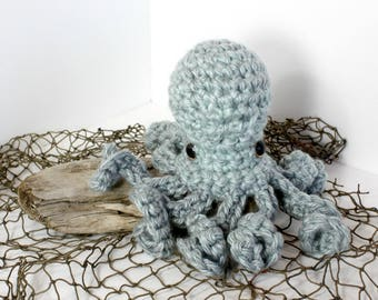 Large Poli the Octopus - Stuffed Animal - Aqua Grey w/ Gold eyes