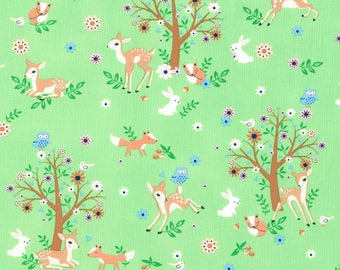 """End of Bolt, Storybook Animals from the Storybook Forest Collection from Timeless Treasures, Bunnies, Baby Deer, Fox, Birds, 19""""x44"""""""