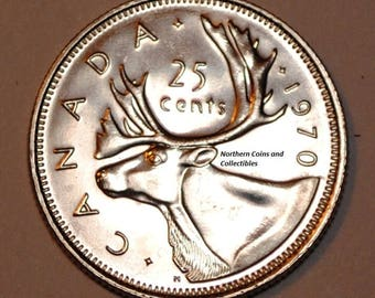 Canada 1970 25 cents Nice UNC from roll - Low Mintage BU Canadian Quarter