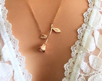 Sideways Rose Necklace, Rose Gold Necklace Dainty, Rose Pendant Necklace, Sideways Necklace, gift for her
