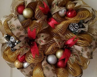 Gold and Red deco mesh Christmas wreath