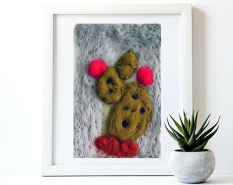 Cactus wall art Cactus wall decor Textured painting Southwest decor Hand felted art Eco wool painting Cactus theme Succulent art Handcrafted
