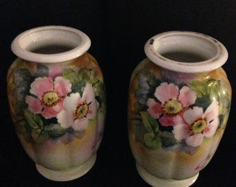 Set of two Nippon vases circa 1910 azaleas
