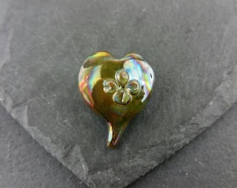 Freehand organic heart focal bead   handmade lampwork glass