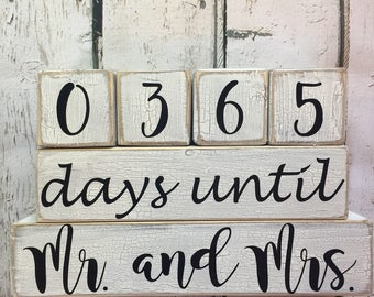 Chipped Paint Distressed Wooden Mr and Mrs 365 Days Until Wedding  Countdown Blocks
