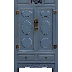 Bon Chinese Distressed Gray Blue Lacquer Tall Armoire Storage Cabinet Cs2238E