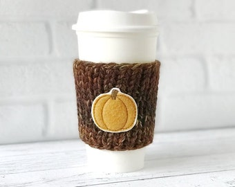 Pumpkin Coffee Cozy, Knit Coffee Cozy, Chunky Coffee Cozy, Pumpkin Applique Coffee Cozy, Pumpkin Coffee Cup Cozy, Chunky Knit Cup Cozy