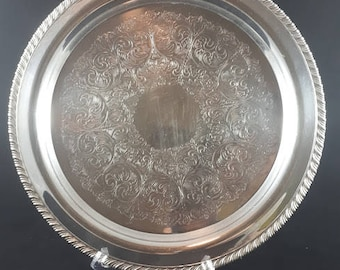 Silver Plated Serving Tray ~ WM A Rogers Ltd. ~ Silver Plated Brass Tray ~ Vintage 1920's