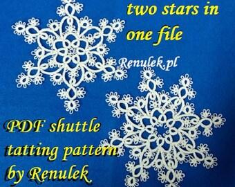 Snowflake GABI. PDF Original Shuttle Tatting Pattern. Instant Digital Download. Tatting yourself xmas gift. schemat frywolitki czółenkowej.