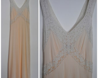 40s Rayon Nightgown - Vintage 1940s Radelle Rayon Nightgown Cut on the Bias
