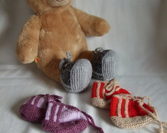 """Hand Knitted 16"""" Teddy Bear Build a Bear Sneakers Trainers. Build a Bear Clothes. Grey Gray, Red or Purple Teddy Bear Shoes. Christmas gift"""