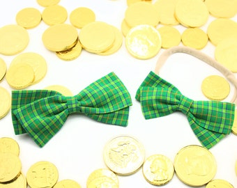 St. Patricks Day Girls Bows - Fabric Hair Bow